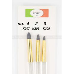 Cerart Brushes Set for Modelling with rounded tip n. 0-2-4 -