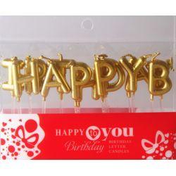 HAPPY BIRTHDAY字母蠟燭(金色)