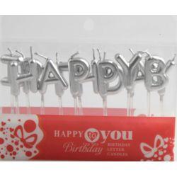 HAPPY BIRTHDAY字母蠟燭(銀色)