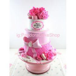 三層玫瑰花蝴蝶結蛋糕