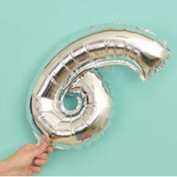 氣球-6字(銀色)