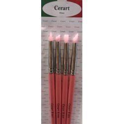Cerart 4 Hard Pink Silicone Brushes