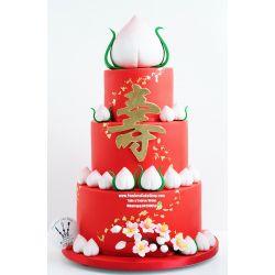 兩層壽桃蛋糕